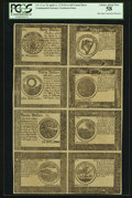 Colonial Notes:Continental Congress Issues, Continental Currency Counterfeit Detector April 11, 1778 $4, $5,$6, $7, $8, $20, $30, and $40 PCGS Choice About New 58.. ...