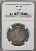 Seated Half Dollars: , 1889 50C VF25 NGC. NGC Census: (2/104). PCGS Population (4/168). Mintage: 12,000. Numismedia Wsl. Price for problem free NG...