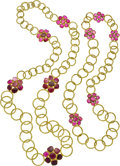 Estate Jewelry:Necklaces, Ruby, Gold Necklaces. ... (Total: 2 Items)