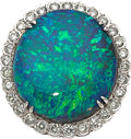 Estate Jewelry:Rings, Black Opal, Diamond, Platinum Ring. ...