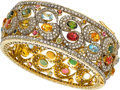 Estate Jewelry:Bracelets, Multi-Stone, Diamond, Silver-Topped Gold Bracelet. ...