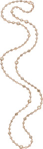 Estate Jewelry:Necklaces, Colored Diamond, Pink Gold Necklace. ...