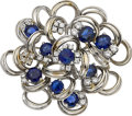 Estate Jewelry:Brooches - Pins, Sapphire, Diamond, White Gold Brooch, Dankner. ...
