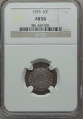 Bust Dimes: , 1829 10C Small 10C AU55 NGC. NGC Census: (20/214). PCGS Population(19/142). Mintage: 770,000. Numismedia Wsl. Price for pr...