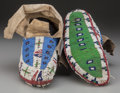 American Indian Art:Beadwork and Quillwork, A PAIR OF SIOUX BEADED HIDE CEREMONIAL MOCCASINS. c. 1890...(Total: 2 Items)