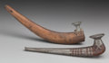 American Indian Art:Pipes, Tools, and Weapons, TWO ESKIMO WOOD AND METAL PIPES. c. 1880... (Total: 2 Items)
