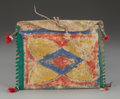 American Indian Art:Pipes, Tools, and Weapons, A SMALL SIOUX PAINTED PARFLECHE CASE...