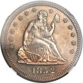 Proof Seated Quarters, 1852 25C PR65 NGC. Briggs 1-A....
