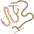 Timepieces:Watch Chains & Fobs, Two Gold Filled Watch Chains With T-Bars. ... (Total: 2 Items)