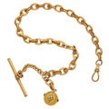Timepieces:Watch Chains & Fobs, Ball Shape Fob With Garnets & Chain. ...