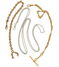 Timepieces:Watch Chains & Fobs, Two Gold Filled Watch Chains & One Sterling Chain. ... (Total:3 Items)