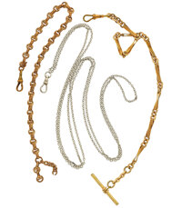 Two Gold Filled Watch Chains & One Sterling Chain
