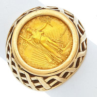 Gold $5 Liberty Coin Ring