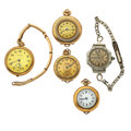 Timepieces:Other , Three Pendants & Two Wristwatches. ... (Total: 5 Items)