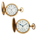 Timepieces:Pocket (post 1900), Burlington & Waltham Hunter's Case Pocket Watches. ... (Total:2 Items)