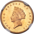Gold Dollars, 1856-S/S G$1 FS-501 MS64 NGC. CAC....