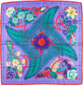 "Luxury Accessories:Accessories, Hermes 90cm Purple & Red ""Fleurs de l'Opera,"" by Julia AbadieSilk Scarf . Excellent Condition. 36"" Width x 36""Length..."