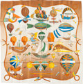 "Luxury Accessories:Accessories, Hermes 90cm Brown & White ""Les Folies du Ciel,"" by LoïcDubigeon Silk Scarf. Excellent Condition. 36"" Width x 36""Leng..."