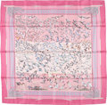 "Luxury Accessories:Accessories, Hermes 90cm Pink & White ""Libre Comme l'Air,"" by Annie FaivreSilk Scarf. Excellent Condition. 36"" Width x 36"" Length. ..."