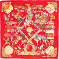 "Luxury Accessories:Accessories, Hermes 140cm Red & Gold ""Les Danses des Indienes,"" by Kermit Oliver Silk and Cashmere Scarf. Very Good Condition. 55"" ..."