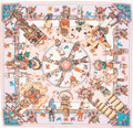 "Luxury Accessories:Accessories, Hermes 140cm Pink & White ""Kachinas,"" by Kermit Oliver Silk andCashmere Scarf. Excellent Condition. 55"" Width x 55""Lengt..."