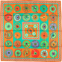 "Hermes 140cm Orange & Green ""Belles du Mexique,"" by Virginie Jamin Silk and Cashmere Scarf Excellent Condi..."
