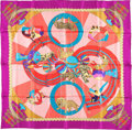 "Luxury Accessories:Accessories, Hermes 90cm Pink & Purple ""Circus,"" by Annie Faivre Silk Scarf. Very Good to Excellent Condition . 36"" Width x36..."