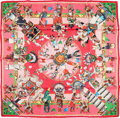 "Luxury Accessories:Accessories, Hermes 90cm Pink & Red ""Kachinas,"" by Kermit Oliver Silk Scarf. Pristine Condition . 36"" Width x 36"" Length . ..."