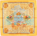 "Luxury Accessories:Accessories, Hermes 90cm Orange & Yellow ""Recontre Oceane,"" by Annie FaivreSilk Scarf. Very Good Condition . 36"" Width x 36""Lengt..."