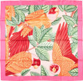 "Luxury Accessories:Accessories, Hermes 90cm Pink & Orange ""Les Perroquets,"" by Joachim MetzSilk Scarf. Excellent Condition. 36"" Width x 36"" Length. ..."