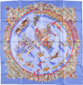 "Luxury Accessories:Accessories, Hermes 90cm Blue & Red ""Cirque Molier,"" by Philippe Dumas SilkScarf . Very Good Condition. 36"" Width x 36"" Length..."