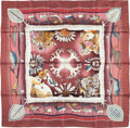 "Luxury Accessories:Accessories, Hermes 90cm Burgundy & White ""La Vie du Grand Nord,"" by AlineHonoré Silk Scarf . Excellent Condition. 36"" Width x36""..."