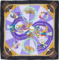 """Luxury Accessories:Accessories, Hermes 90cm Black & Blue """"Circus,"""" by Annie Faivre Silk Scarf.Very Good to Excellent Condition. 36"""" Width x 36""""Lengt..."""