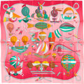 "Luxury Accessories:Accessories, Hermes 90cm Red & White ""Les Folies du Ciel,"" by Annie FaivreSilk Scarf. Excellent Condition. 36"" Width x 36"" Length. ..."