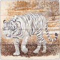 """Luxury Accessories:Accessories, Hermes 90cm Brown & White """"Tigre du Bengale,"""" by Robert DalletSilk Scarf. Excellent Condition. 36"""" Width x 36""""Length..."""