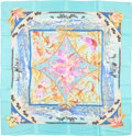 "Luxury Accessories:Accessories, Hermes 90cm Blue & Turquoise ""Tropiques,"" by LaurenceBourthoumieux Silk Scarf. Very Good to Excellent Condition.36"" ..."