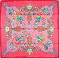 "Luxury Accessories:Accessories, Hermes 90cm Pink & Turquoise ""Poesie Persane,"" by Julia AbadieSilk Scarf. Excellent Condition. 36"" Width x 36"" Length. ..."