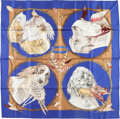 "Luxury Accessories:Accessories, Hermes 90cm Blue & Brown ""Chiens au Rapport,"" by Carl deParcevaux Silk Scarf. Very Good Condition. 36"" Width x36"" Le..."