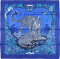 "Luxury Accessories:Accessories, Hermes Blue & Black ""Jungle Love,"" by Robert Dallet Silk Scarf. Excellent to Pristine Condition . 36"" Width x 36"" Length..."