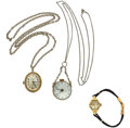 Timepieces:Other , Two Lady's Pendant & A Wristwatch. ... (Total: 3 Items)