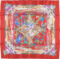 """Luxury Accessories:Accessories, Hermes 90cm Red & Purple """"Tropioues,"""" by Laurence BourthoumieuxSilk Scarf . Very Good to Excellent Condition . 36""""Wi..."""