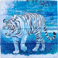 "Luxury Accessories:Accessories, Hermes 90cm Blue & White ""Tigre du Bengale,"" by Robert DalletSilk Scarf. Excellent Condition. 36"" Width x 36""Length..."