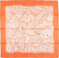 "Luxury Accessories:Bags, Hermes 90cm Orange & Peach ""Chemins de Garrigue,"" by ChristineHenry Silk Scarf. Excellent Condition. 36"" Width x 36""Leng..."