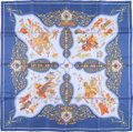 "Luxury Accessories:Accessories, Hermes 90cm Blue & White ""Poesie Persane,"" by Julia Abadie SilkScarf. Very Good to Excellent Condition. 36"" Width x3..."