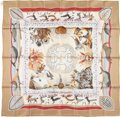 "Luxury Accessories:Accessories, Hermes 90cm Brown & Red ""La Vie du Grand Nord,"" by Aline HonoréSilk Scarf. Excellent Condition. 36"" Width x 36""Lengt..."