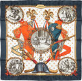 "Luxury Accessories:Accessories, Hermes 90cm Navy Blue & White ""Napoleon,"" by Philippe LedouxSilk Scarf. Excellent Condition. 36"" Width x 36"" Length. ..."