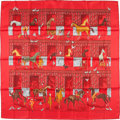 """Luxury Accessories:Accessories, Hermes 90cm Red & Orange """"Les Boxes,"""" by Jean-Louis Clerc Silk Scarf. Excellent Condition. 36"""" Width x 36"""" Length. ..."""