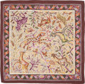"Luxury Accessories:Accessories, Hermes 140cm Brown & Purple ""Mosaïque Romaine,"" Silk andCashmere Scarf. Excellent to Pristine Condition. 55""Width x ..."