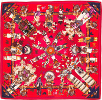 """Hermes 140cm Burgundy & Fuchsia """"Kachinas,"""" by Kermit Oliver Silk and Cashmere Scarf Excellent to Pristine..."""