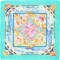 "Luxury Accessories:Accessories, Hermes 140cm Teal & Blue ""Tropiques,"" by Laurence Bourthoumieux Silk and Cashmere Scarf. Excellent to Pristine Condition..."
